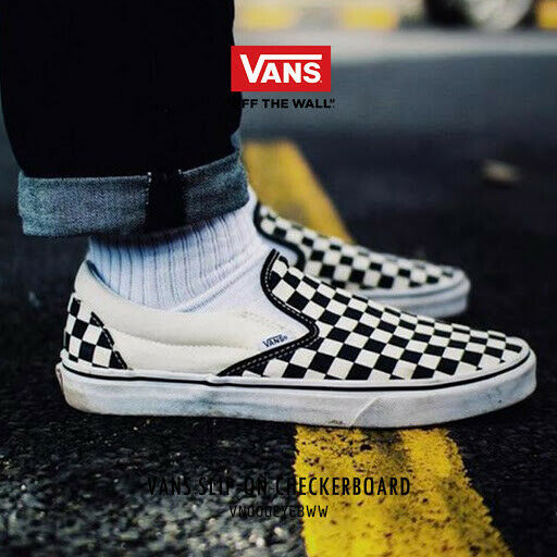 black white and yellow checkerboard vans