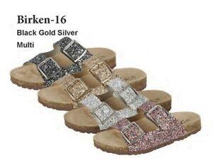 bea115b012b5 Womens Glitter Open Toe Double Buckle Slide Cork Platform Flat ...