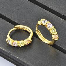 Vintage Womens Hoop earrings Gold Plated cute Rainbow crystal wholesale lot