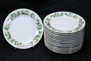China-Pearl-Noel-Salad-Plates-7-5-034-Set-of-15-Brown-Back-Stamp