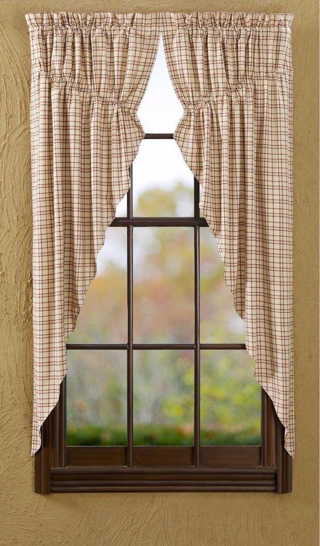 Cream rot Grün Plaid Drawstring Prairie Prairie Prairie Curtain Set 63  L Cotton Lined Tacoma 4d1d43