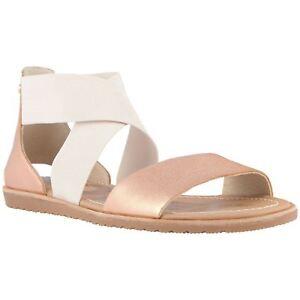 8d66b32359cd Sorel Ella Natural Womens Leather Flat Slip-On Elasticated Sandals ...