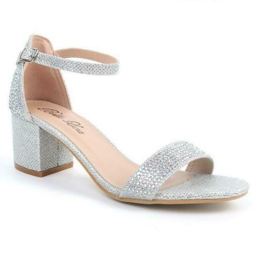 Bella Luna GLENDA-06 Silver Lame/' Rhinestone Bling Dressy Short Block Heel