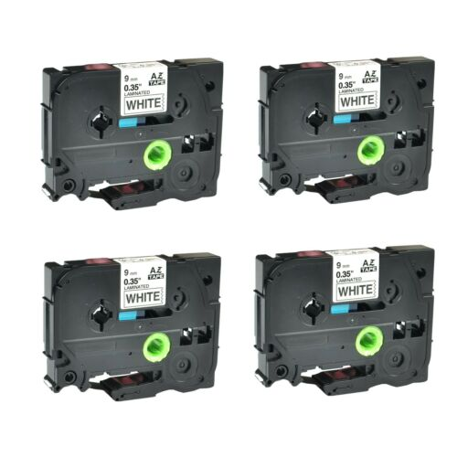 """4PK TZ221 TZe221 Black on White Label Tape for Brother P-Touch PT-1170S 9mm 3//8/"""""""