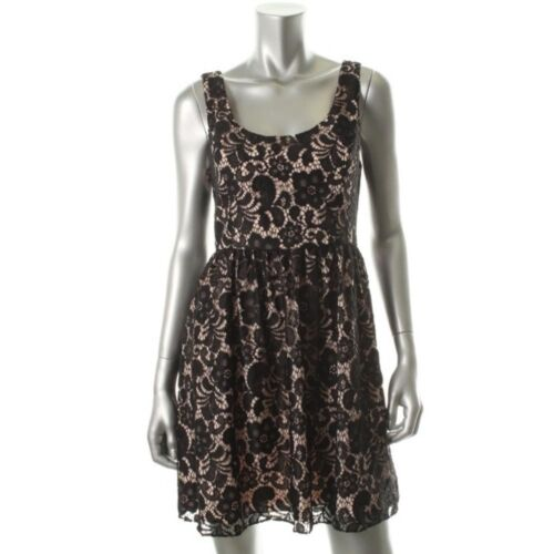 NEW Aqua Black Lace Lined Blush Sleeveless Party Cocktail Dress