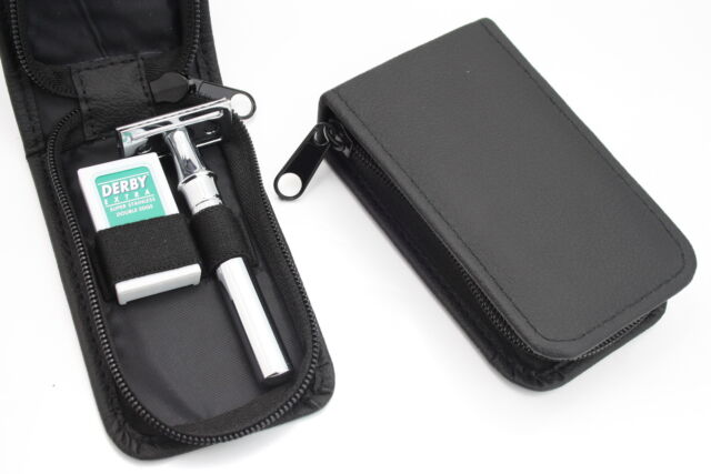 TRAVEL NEW CLASSIC DOUBLE EDGE SHAVING SAFETY RAZOR + BLADES , LEATHER CASE