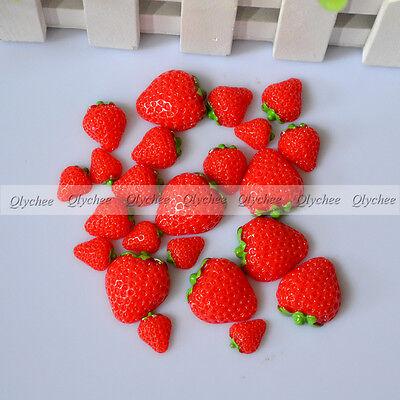 Fashion Lovely DIY Craft Red Strawberry Resin Flatback Scrapbook 3 Size