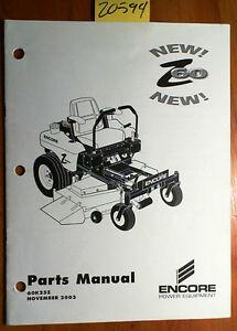 image is loading encore-60k25z-z60-rider-mower-parts-manual-933166-