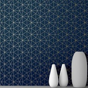 world of wallpaper metro prism geometric triangle blue gold wow008 3294270361016 ebay. Black Bedroom Furniture Sets. Home Design Ideas