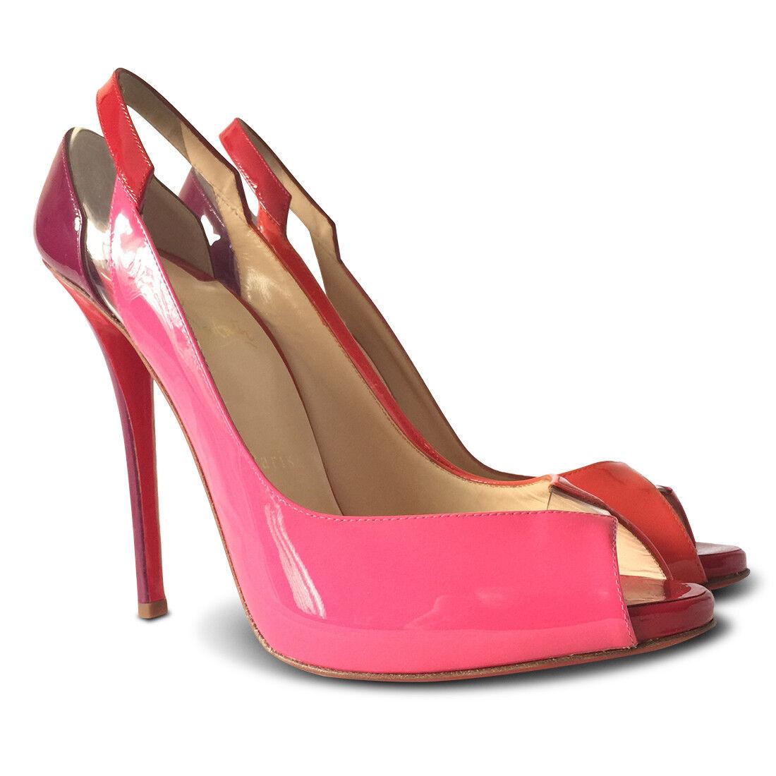 NEW  1172 LOUBOUTIN Technicatina 120 Patent Pumps - Red, Pink, orange, Size 40.5
