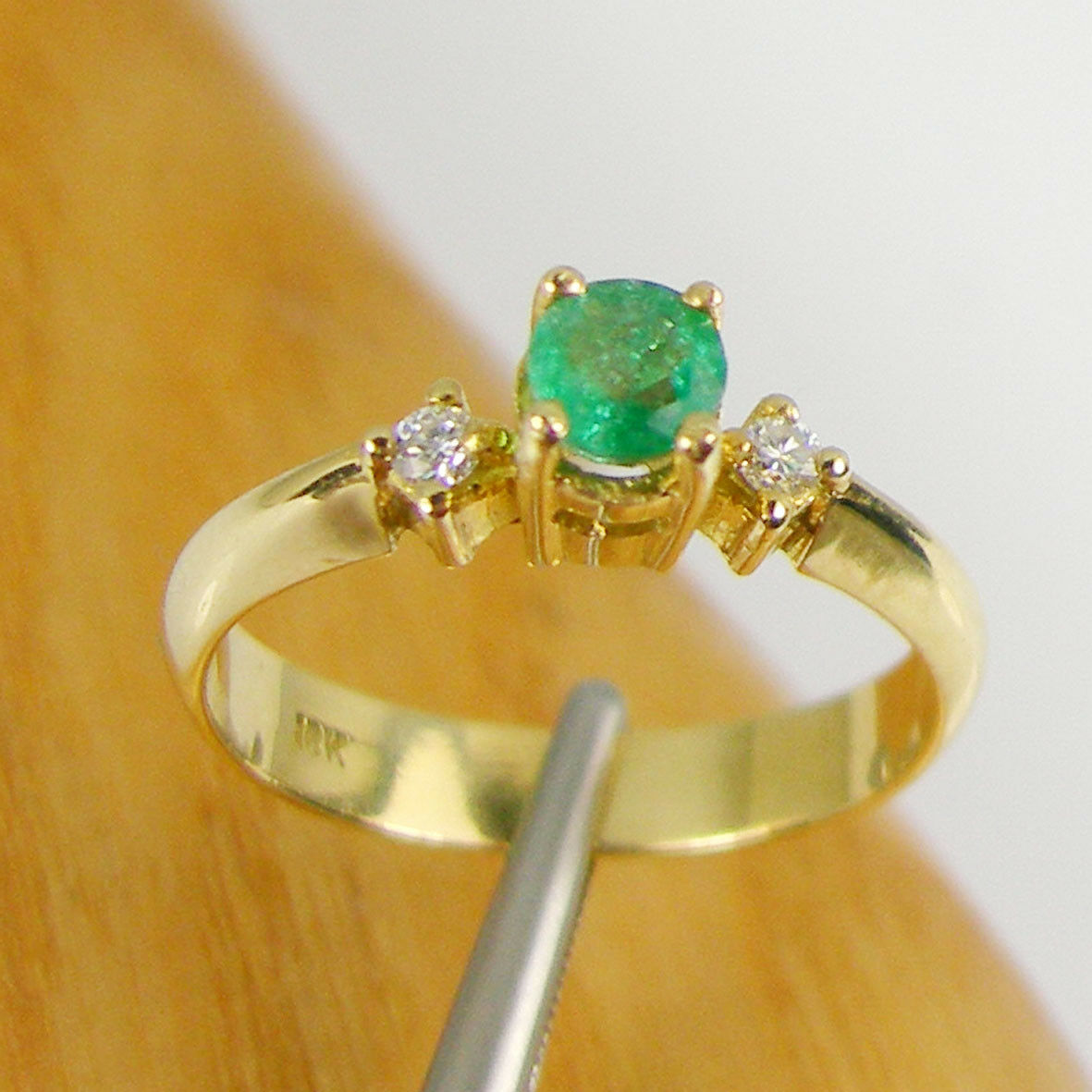Natural Emerald & Diamonds Engagement Claw Ring Genuine 750 18ct 18k Yellow gold
