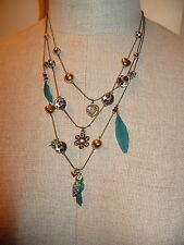 NWT Betsey Johnson 'Jungle Fever' 3 strand Parrot Leopard bead feather Necklace