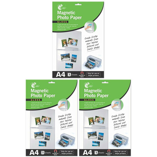 3 x A4 Gloss Magnetic Photo Paper Inkjet Printers 2 Sheet Pack 6 Sheets Total