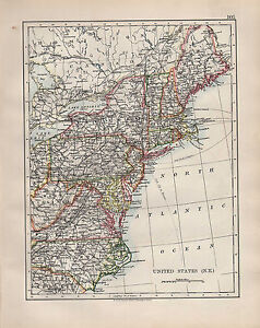 1904 ANTIQUE MAP ~ UNITED STATES NORTH EAST NORTH CAROLINA ...