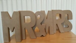 Paper Mache Giant Cardboard Letters Mr Mrs Signs 3d Craft 205cm
