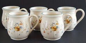 Vintage-Ceramic-Coffee-Mugs-Goose-Fruit-Basket-Ribbon-Made-in-Japan-Set-of-Five