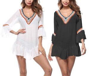 buy popular 20083 44620 Dettagli su Vestito Top Copricostume Caftano Mare Donna Cover Up Summer  Kaftan Dress COV0047