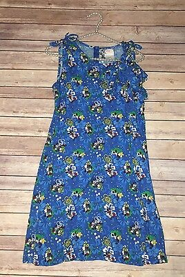 Disney Store Women's Size S Blue Hawaiian Floral Mickey & Minnie Mouse Dress V