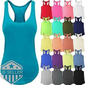 Womens-Tank-Top-Cotton-Sleeveless-Tee-Casual-Basic-Workout-RACER-BACK-Yoga-Gym