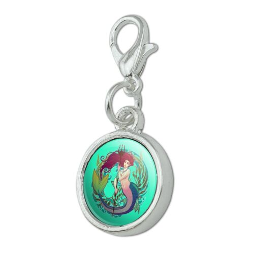 Mermaid Holding Trident Circle of Kelp Bracelet Charm with Lobster Clasp