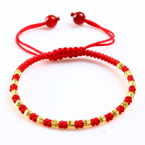 3pcs fine pure 24k or Jaune 4 mm Lucky Perles De Charme En Maille Bracelet