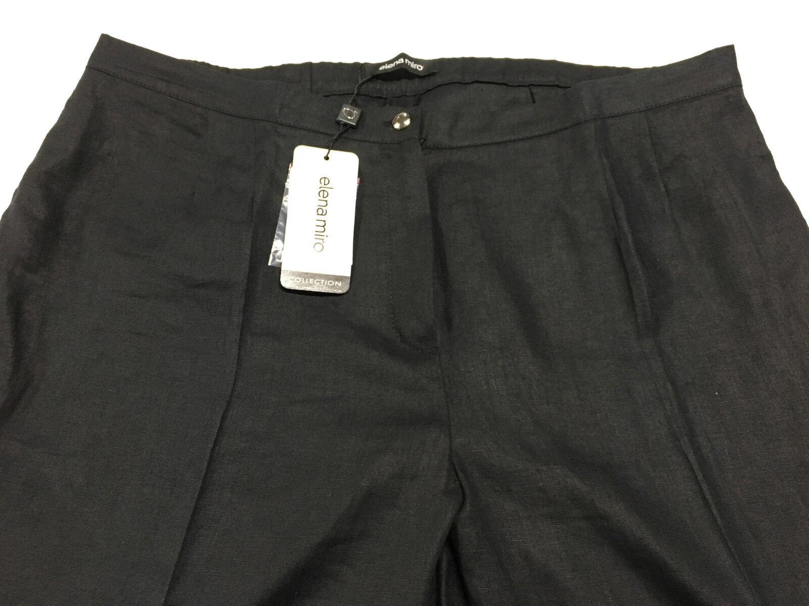 ELENA MIRO' Damenhose Damenhose Damenhose schwarz elastisch hinter 100% Leinen | Angenehmes Gefühl  | Ausreichende Versorgung  | Komfort  612d3b