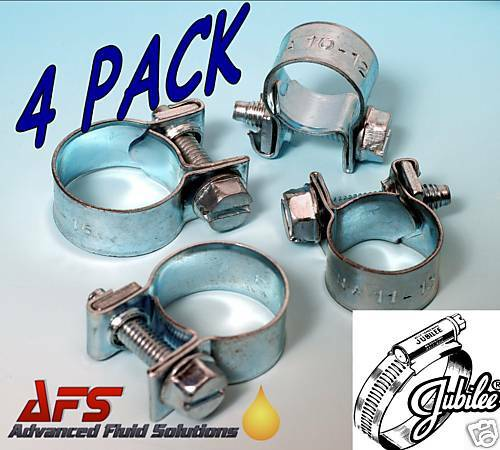 4 x 14mm 16mm Jubilee Mini Hose Clips Clamp Nut /& Bolt Air Fuel Pipe Water AFS