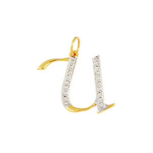 Diamond Pave U Initial Christmas Gift Pendant 14K Gold Designer Necklace Jewelry