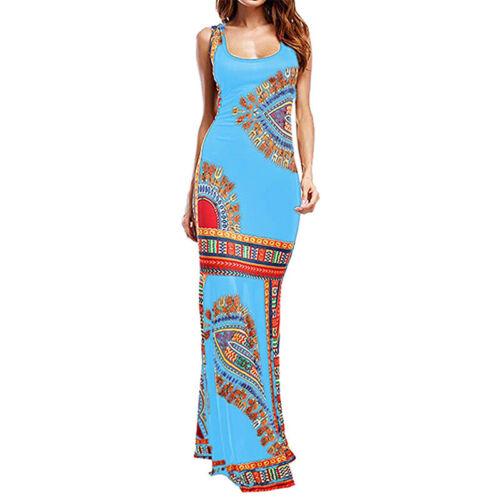 UK Women Floral Hippie Long Maxi Dress Sleeveless Ladies Causal Bodycon Sundress