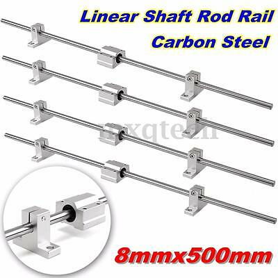 4 x 8mm x 500mm Horizontal Linear Motion Ball Bearing Slide Shaft Optical Axis