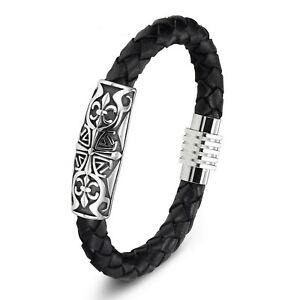 Bracelet pour homme et femme perles acier inoxydable et cuir noir  21//19 cm