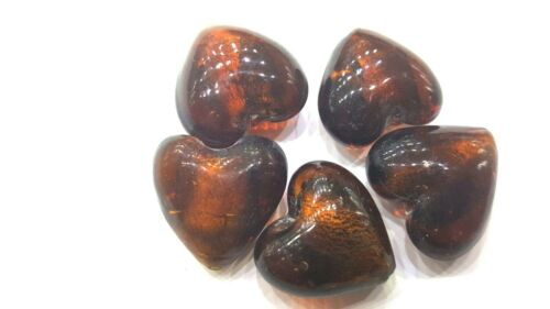 5 pcs Silver Foil Heart Beads A4182 20mm Brown