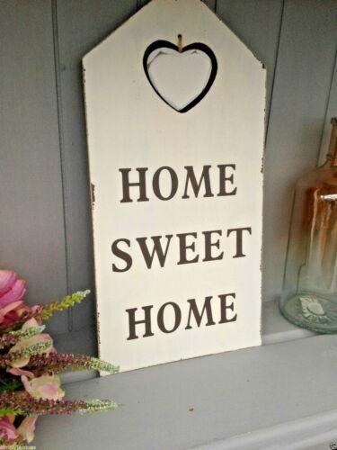 Shabby Rustique Chic En Bois Blanc Coeur Découpé plaque Home Sweet Home SIGNE