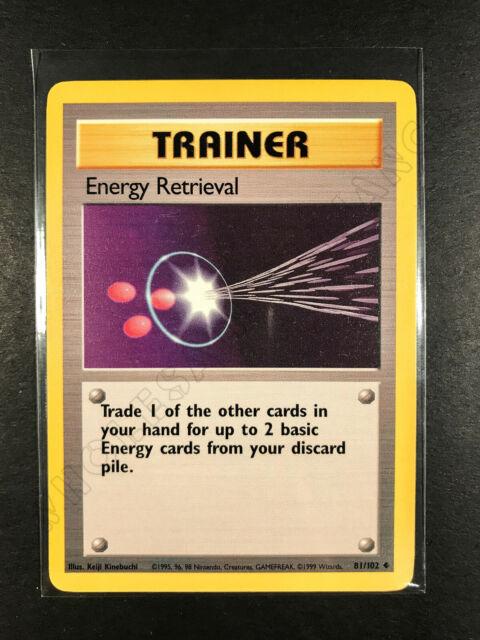 NM Pokemon Base Set Energy Retrieval Card Unlimited Uncommon 81/102