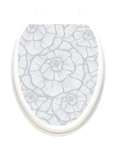 Toilet Tattoos® Contemporary Swirls  Lid Cover  Decor White Reusable Vinyl 1156