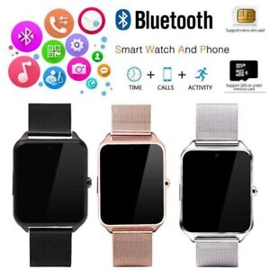 Bluetooth-Smart-Watch-GSM-SIM-Phone-Mate-Z60-Stainless-Steel-For-IOS-Android