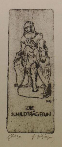 """"""" Ettlingen - La Schildträgerin """" Roue Graphique Dédicacé H.grötzinger Brillant En Couleur"""