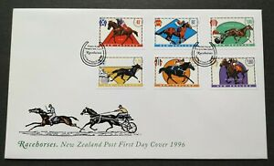 1996-New-Zealand-Sports-Games-Horse-Racing-Racehorses-6v-Stamps-FDC