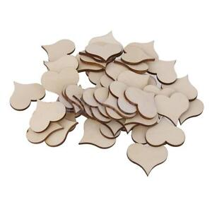 25Pcs Unfinished Wooden Heart Shape Cutout for Craft Card Making Scrapooking