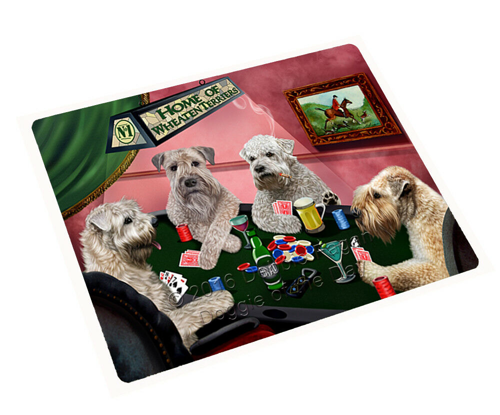 Home of Wheaten Terrier Dogs Playing Poker Woven Throw Sherpa Blanket NWT