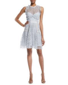 Details About Self Portrait Pale Blue Circle Floral Lace Frill Mini Halter Dress Size 8uk 12