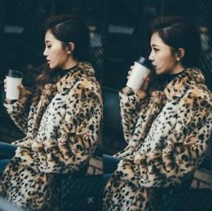 femmes léopard de de de parka revers veste des de manteau long Manteau de lapin collier léopard fourrure de de de de TURxwfCq