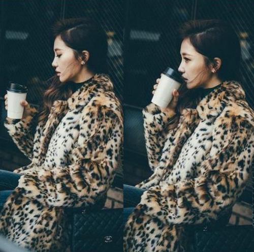 léopard de fourrure de manteau de veste parka des de de léopard femmes long lapin de Manteau de de collier de revers MTq8Fpqw