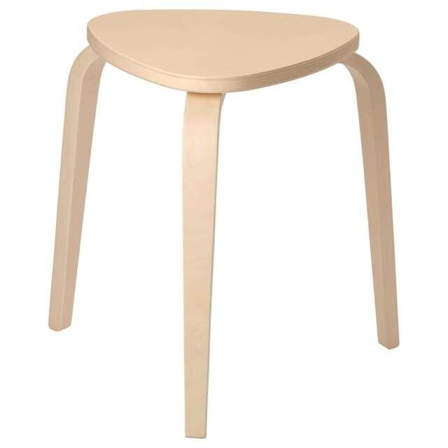 Ikea Kyrre taburete madera 45cm Stappelhocker abedul en forma de V Sitzfläsche