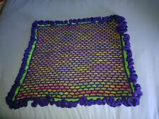 Hand knit baby blanket soft, bright, and colorful