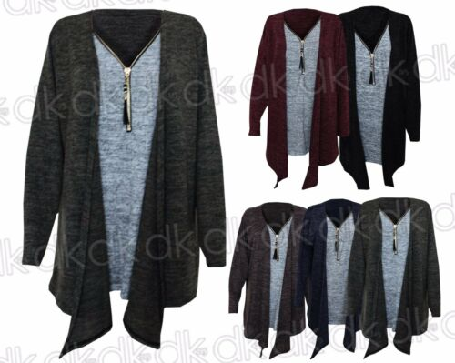 NEW Ladies 2 Tone Zip Long Sleeve Winter Women/'s Baggy Oversized Top 16-24