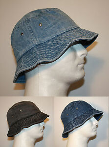 MEN 100% COTTON DENIM FISHING BUCKET HAT CAP - SMALL   MEDIUM or ... 064f51a08f2