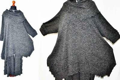 Lagenlook Carmenkragen-A-Linie-Shirt asymetrisch 2 Längen BLACK-Jersey XXL,XXXL