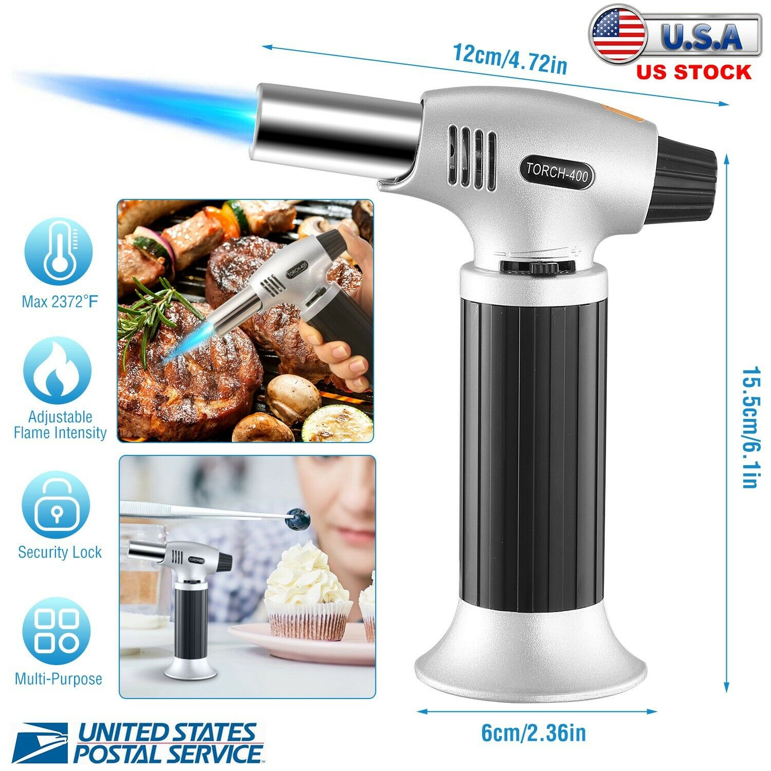Semlos Butane Torch Professional Kitchen Cooking Torch with Adjustable Flame Refillable Blow Torch Lighters Creme Brulee, for Crafts Butane Gas Not Included
