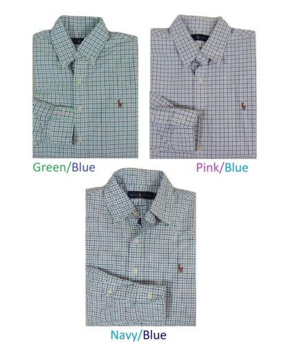 Men Polo Ralph Lauren Pony Button Down Classic Oxford Plaid Dress Shirt S M XL